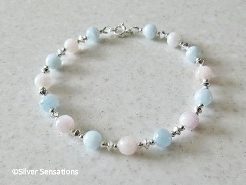 Natural Pink & Blue Morganite Beads & Sterling Silver Bracelet